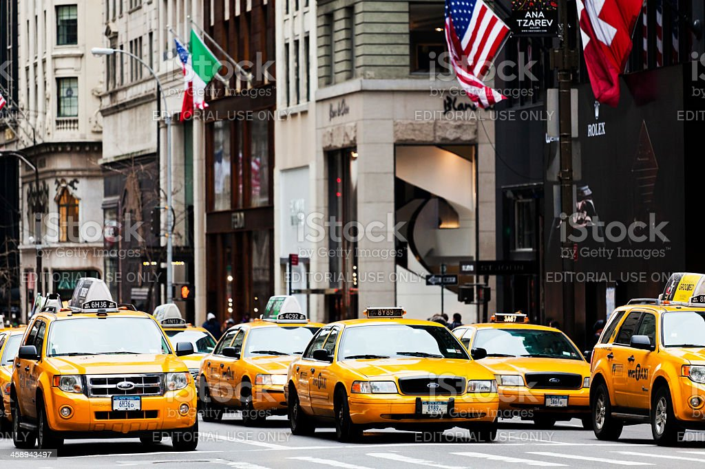 Taxis in Fifth Avenue New York City royalty-free stock photo