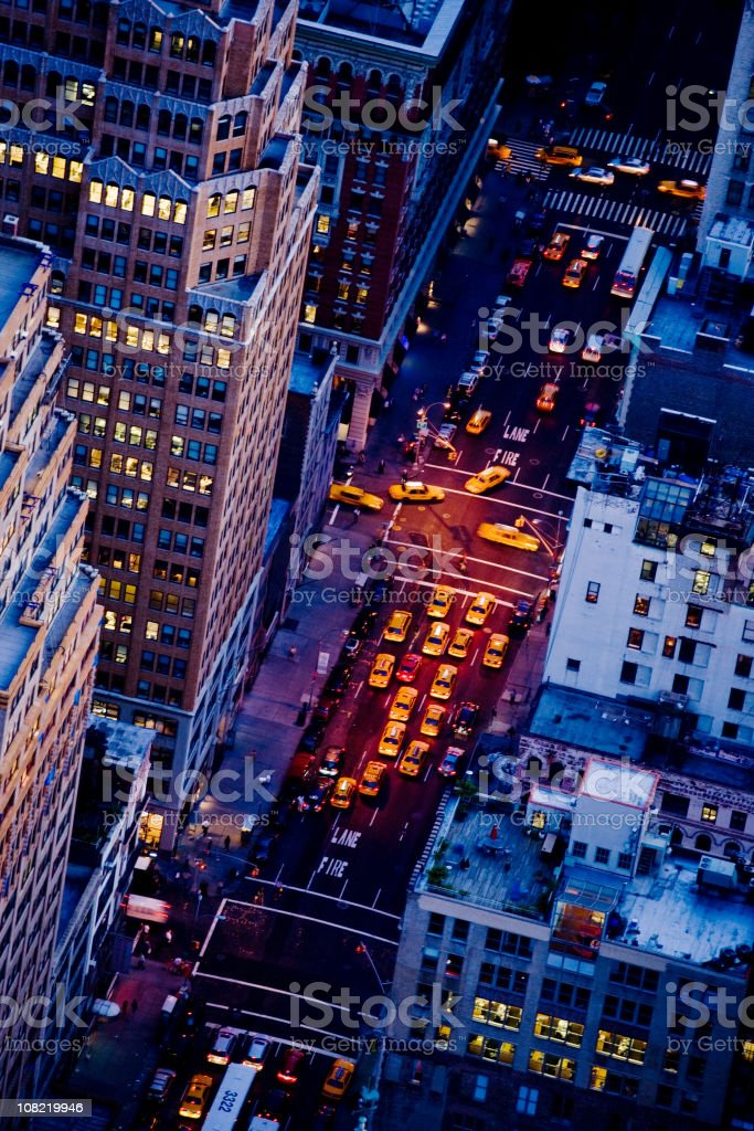 NY Taxis in Fifth Avenue royalty-free stock photo