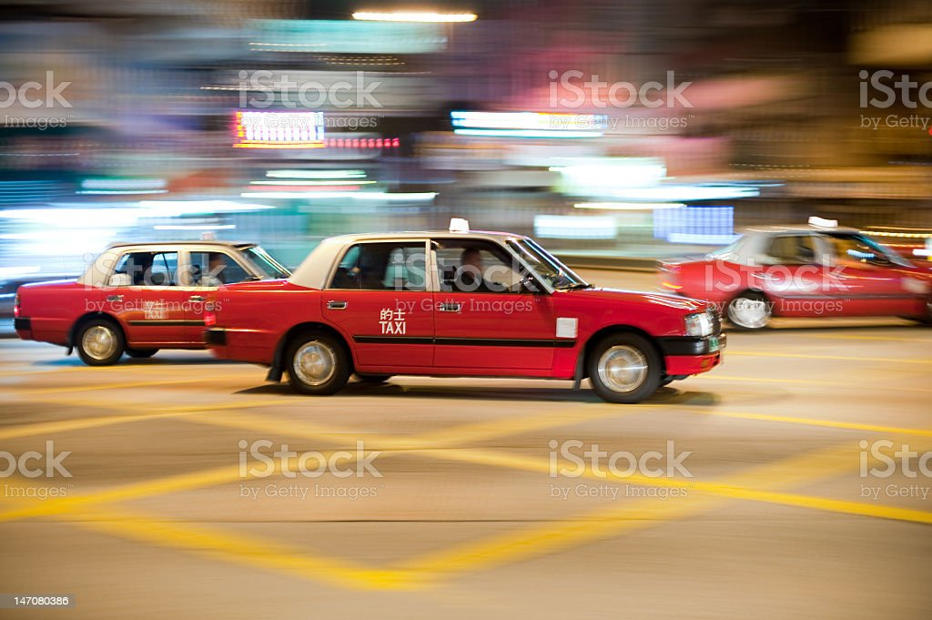 Taxis in motion stock photo