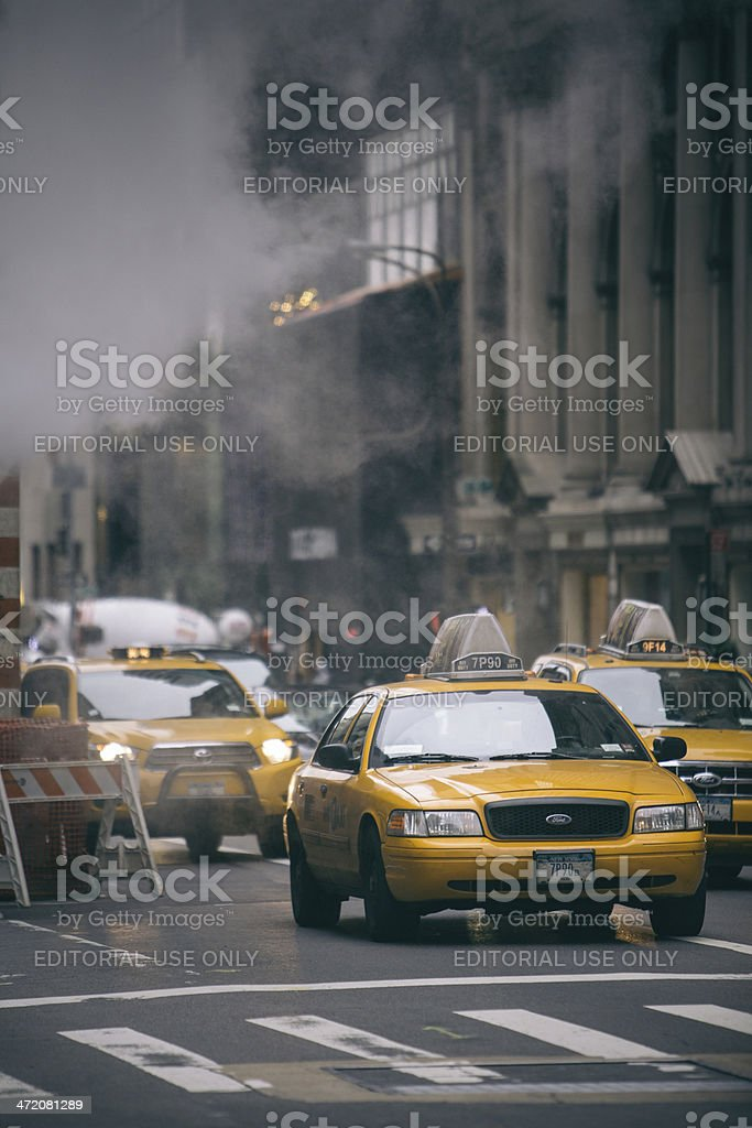 Taxis in New York stock photo