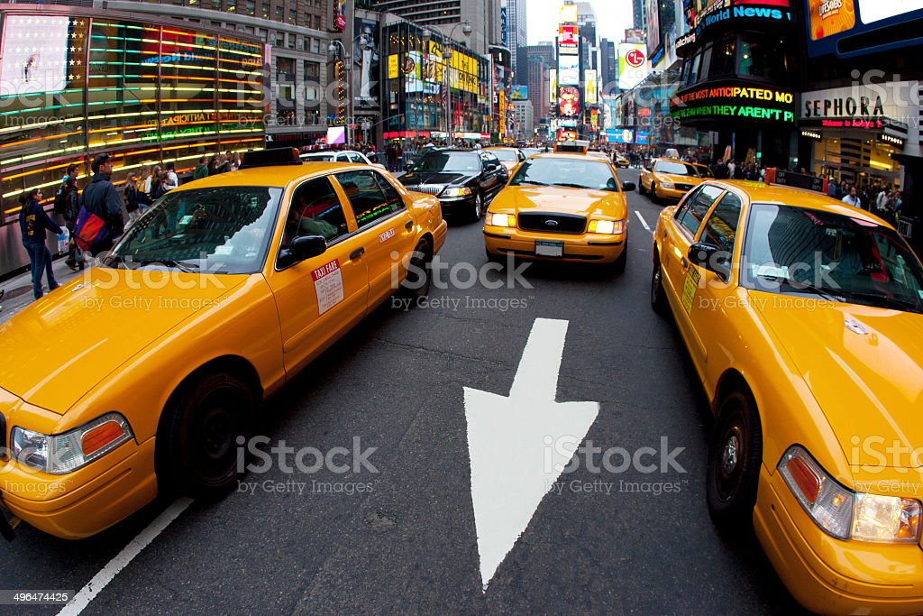 Taxis in Times Square stock photo