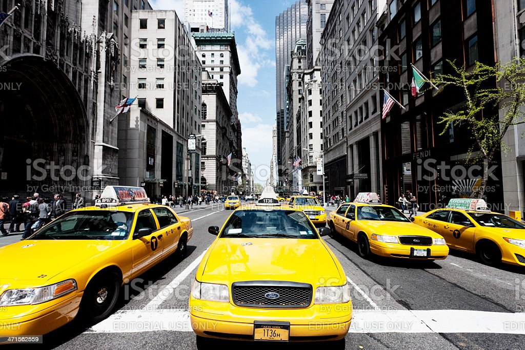 Taxis on 5th Avenue, New York City royalty-free stock photo