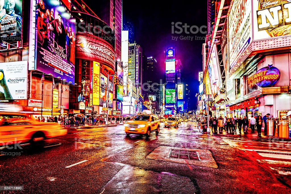 Taxis on 7th Avenue at Times Square, New York City stock photo