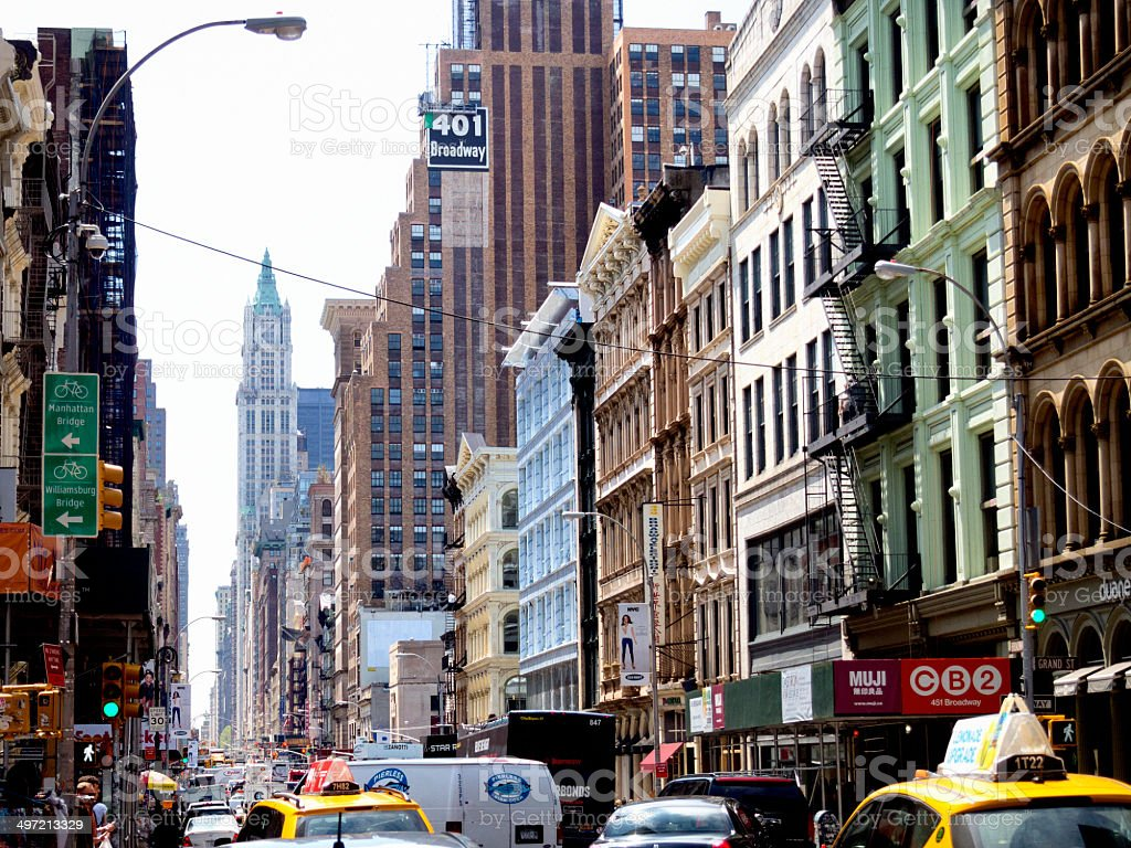 Taxi's on broadway, Manhattan, new york stock photo