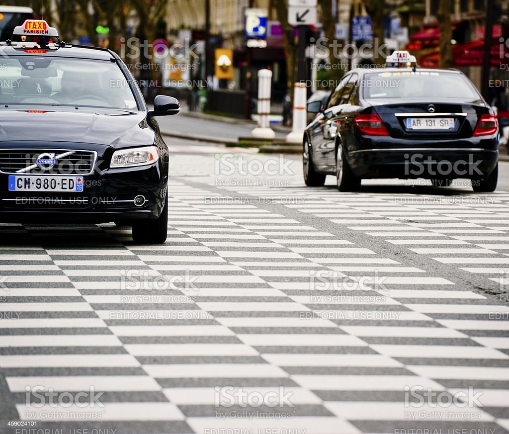 Taxis on Paris Street royalty-free stock photo