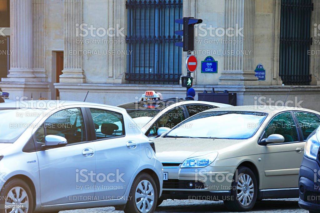 Taxis on Paris Street stock photo