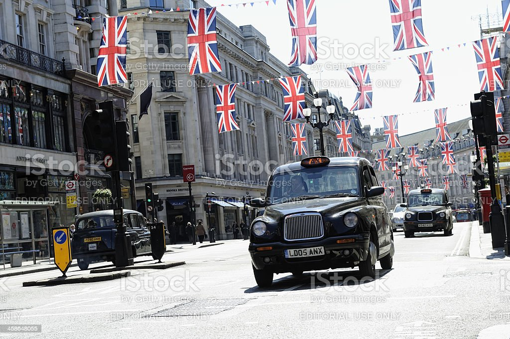 Taxis on Regent Street London stock photo