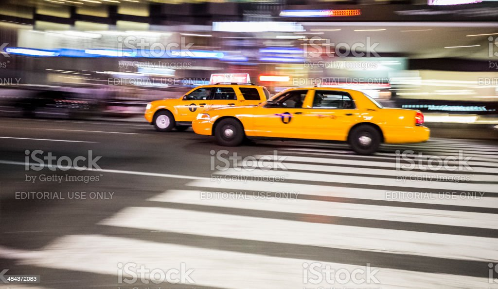 Taxis on Seventh Avenue Manhattan stock photo