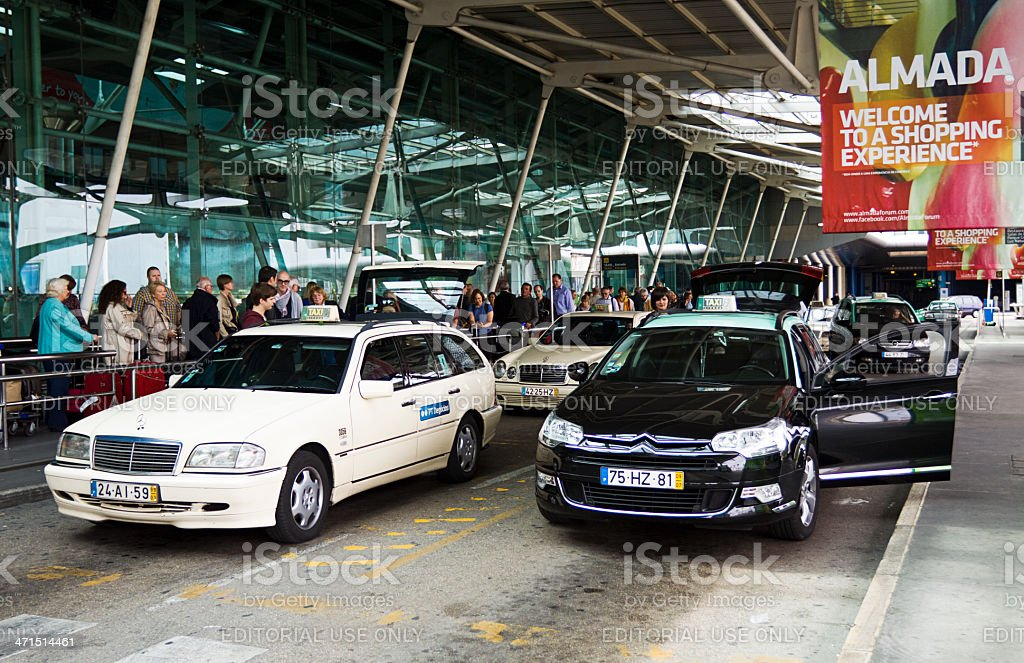 Taxis outside arrivals at Lisbon airport Portugal royalty-free stock photo