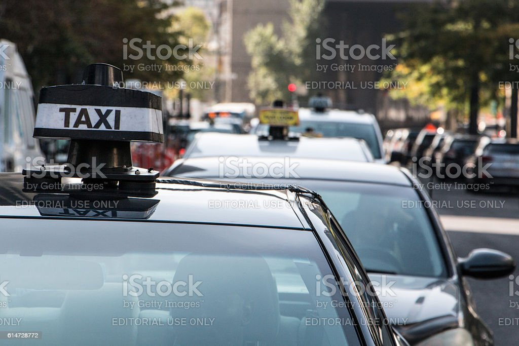 Taxis protesting Uber stock photo