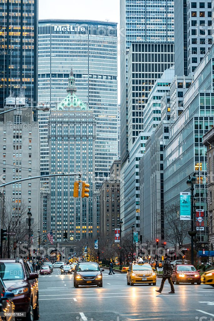 Taxis waiting for green light in NYC, USA stock photo