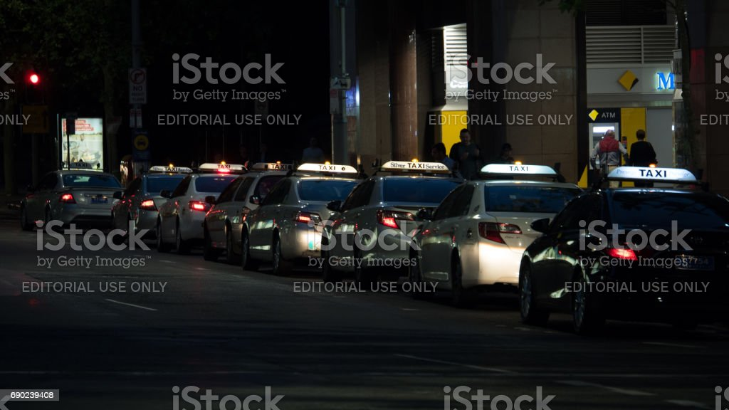 Taxis waiting for passengers in Sydney 4k stock photo