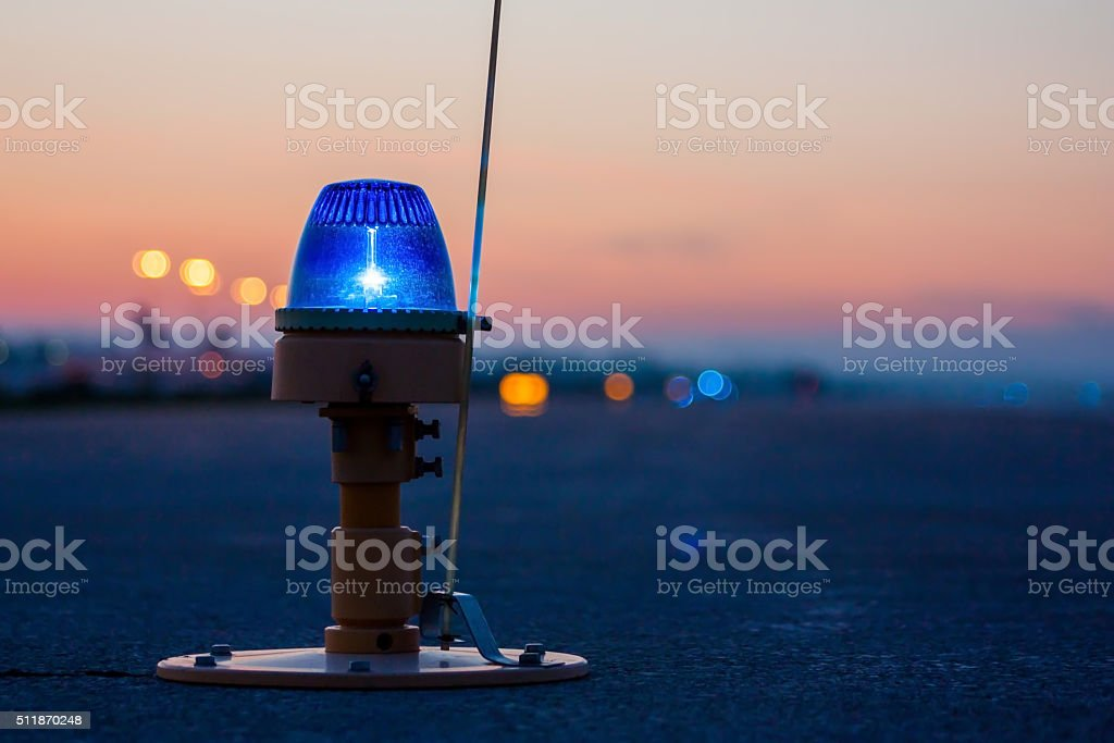 Taxiway lights, side row lights stock photo