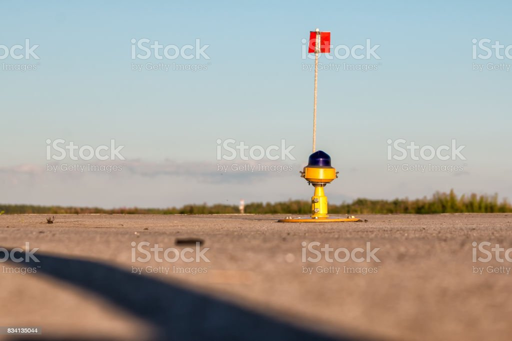 Taxiway, side row lights at the airport stock photo
