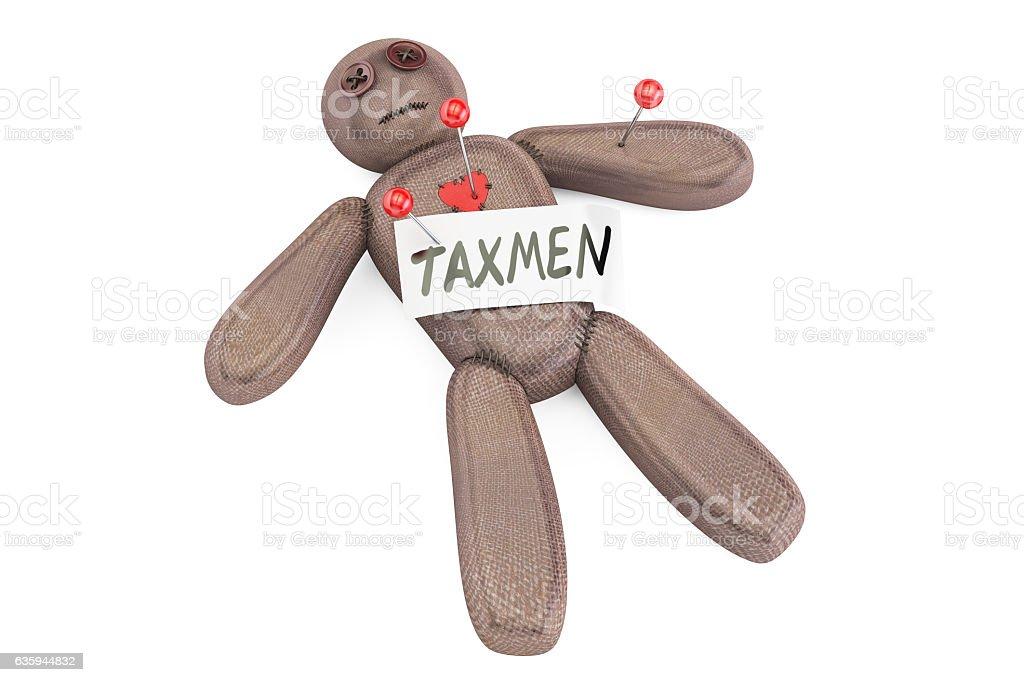 Taxman voodoo doll with needles, 3D rendering stock photo