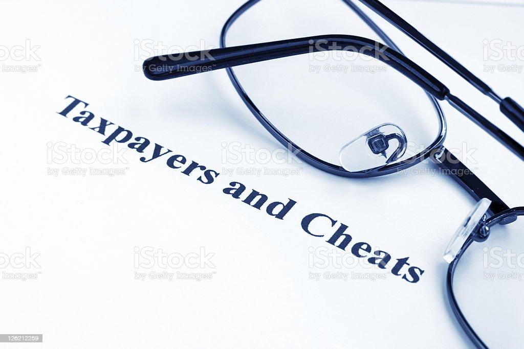 Taxpayers and cheats stock photo