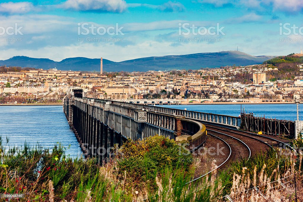 Tay Rail Bridge, Dundee, Scotland stock photo
