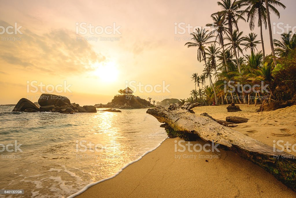 Tayrona beach Sunrise stock photo