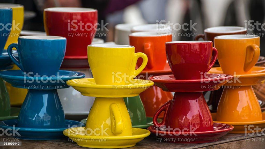 tazzine da caffè multicolore stock photo
