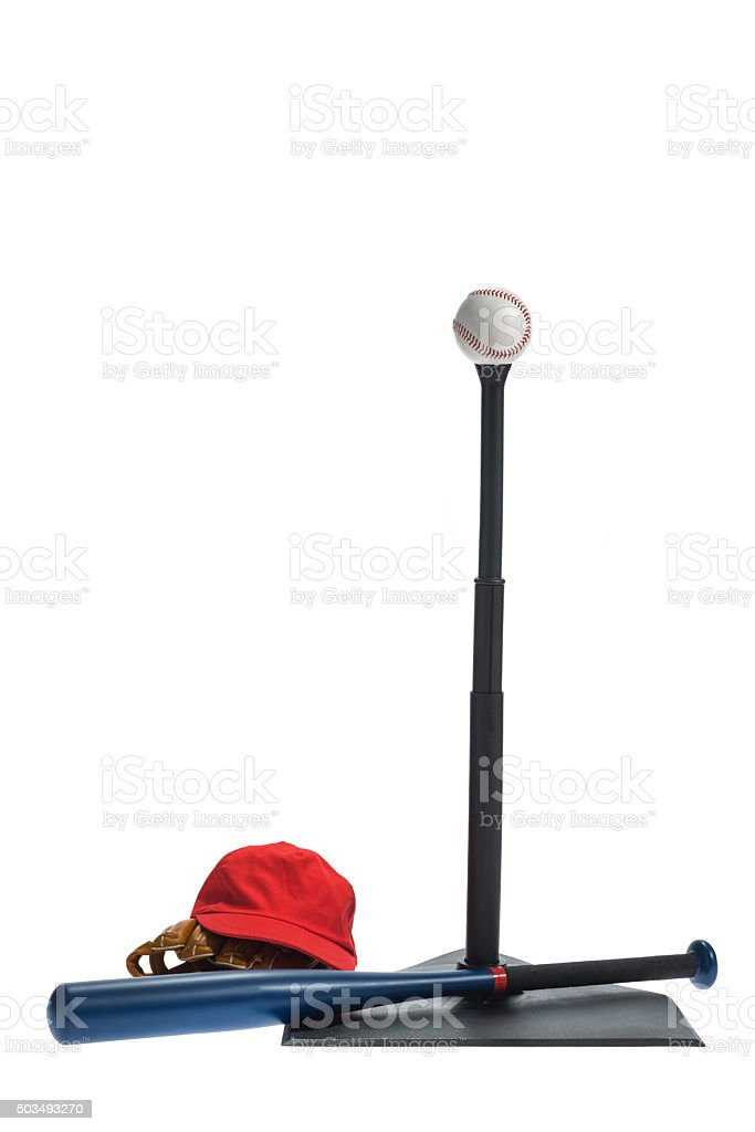 T-Ball stand with baseball, hat, glove and aluminum bat stock photo