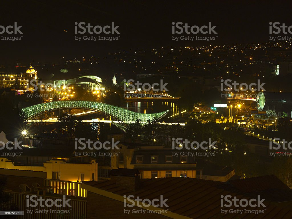 Tbilisi at night stock photo