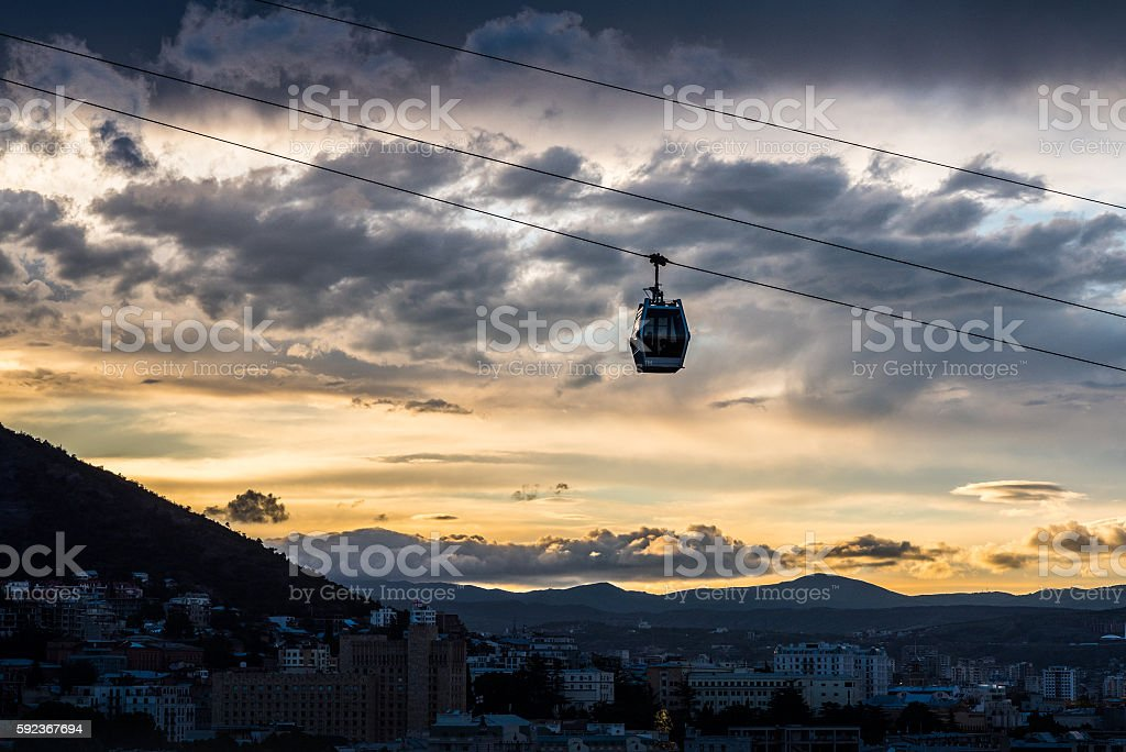 Tbilisi cableway at night stock photo