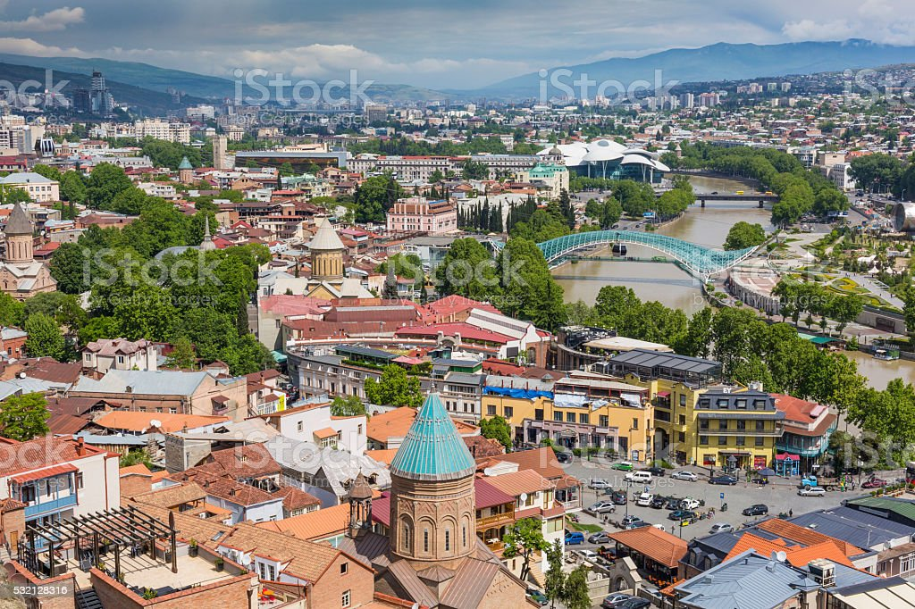 Tbilisi city center aerial view. stock photo