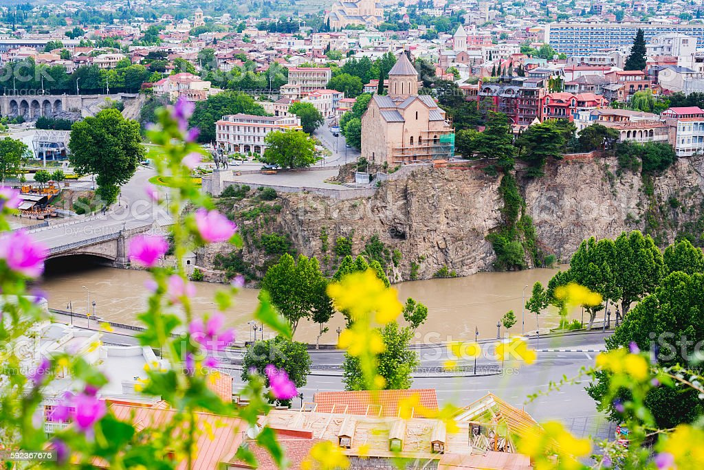Tbilisi cityscape with Metekhi Cathedral stock photo