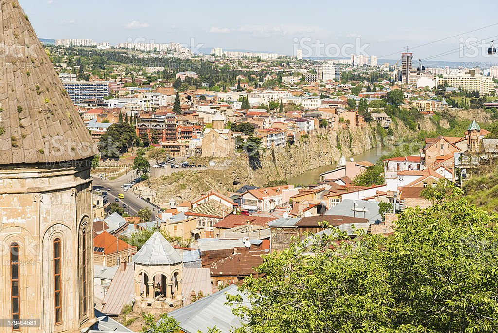 Tbilisi, Georgia, is seen from a high angle.  stock photo