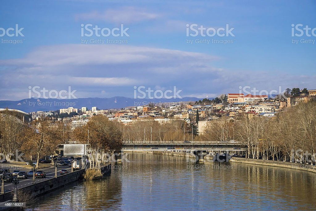 Tbilisi, Georgia skyline, Mtkvari (Kura) river, Baratashvili Bridge stock photo