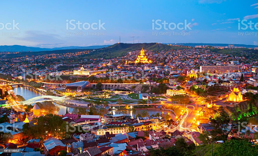 Tbilisi panorama, Georgia stock photo