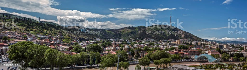 Tbilisi. Panorama of the right  bank of the Kura River stock photo
