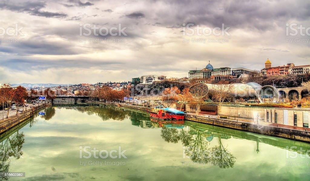 Tbilisi with the Kura River - Georgia stock photo
