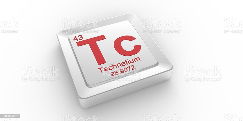 Tc symbol 43 material for Technetium chemical element stock photo