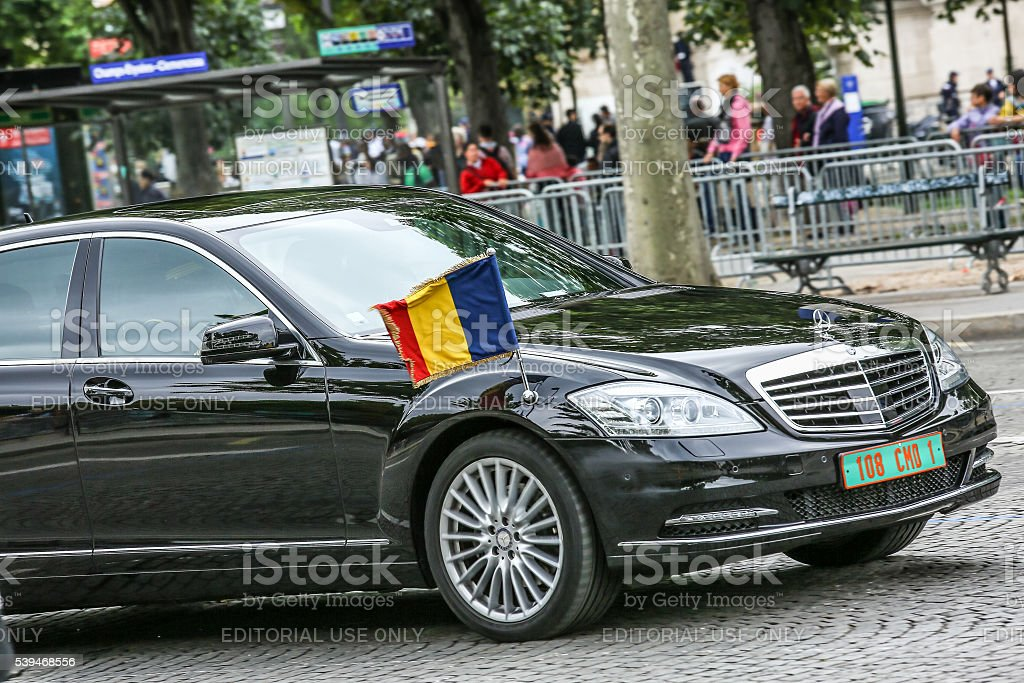 Tchad Diplomatic car during Military parade stock photo