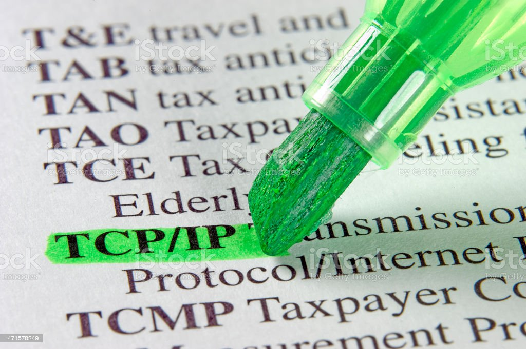 tcp/ip definition marked in dictionary royalty-free stock photo
