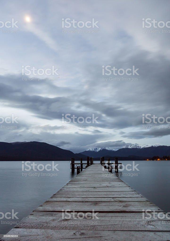 Te Anau Moonrise stock photo