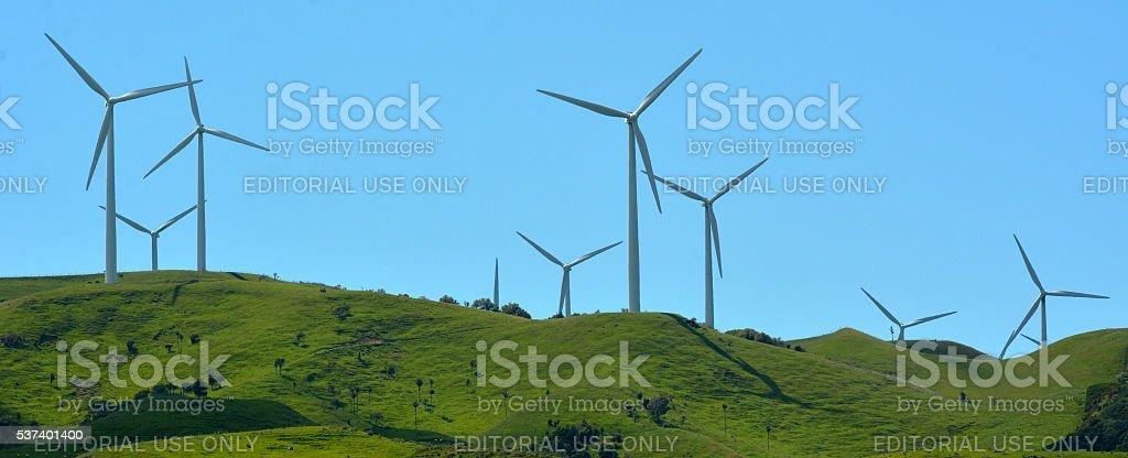 Te Apiti Wind Farm in Palmerston North, New Zealand stock photo