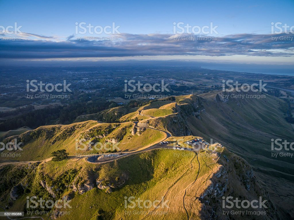 Te Mata peak sunset stock photo