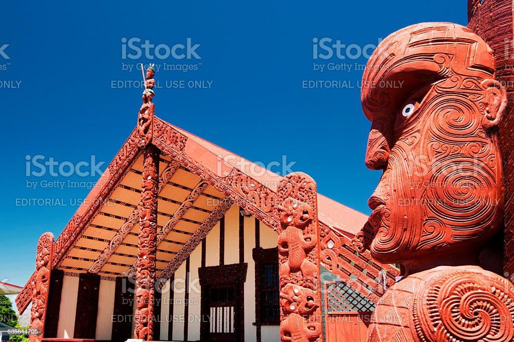 Te Papaiouru Marae, Rotorua, New Zealand - November 11 stock photo