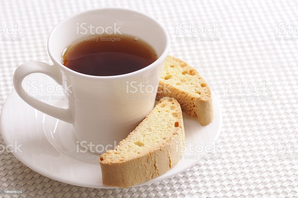 Tea and Biscotti with Copyspace royalty-free stock photo