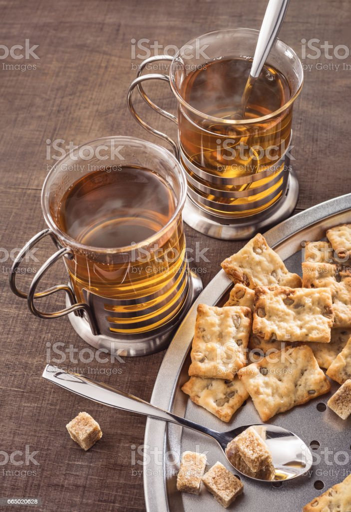 Tea and biscuits. stock photo