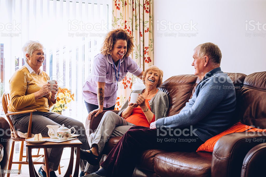 Tea and Cake in the Care Home stock photo