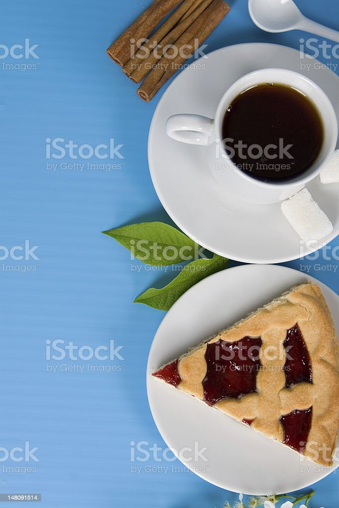 Tea and cake royalty-free stock photo