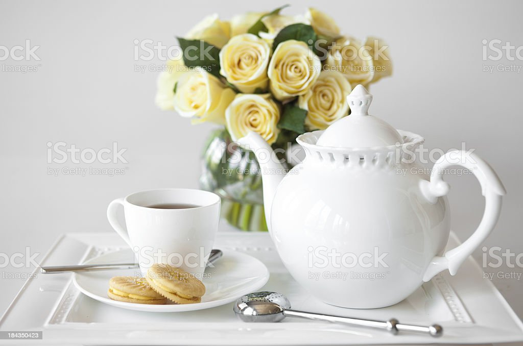 tea and cookies stock photo