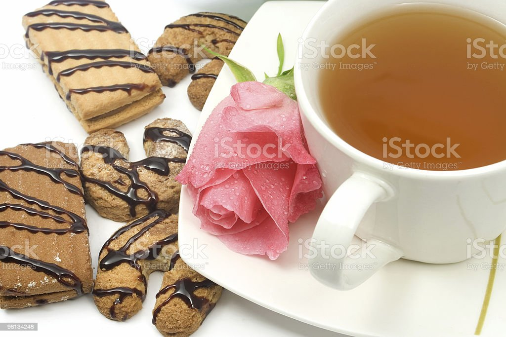 Tea and cookies royalty-free stock photo