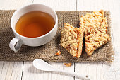 Tea and cookies with jam