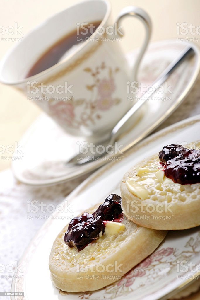 tea and crumpets royalty-free stock photo