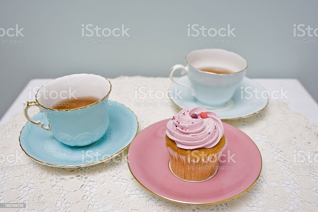 Tea and Cupcake stock photo