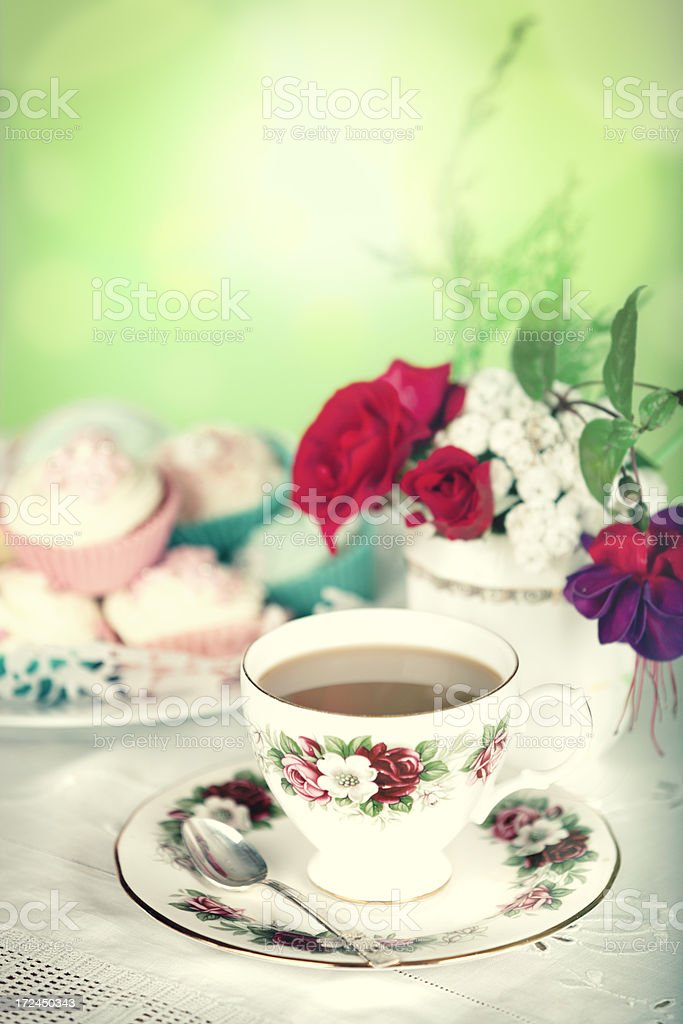 Tea and cupcakes stock photo